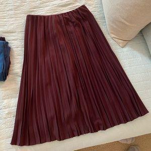 Pleated Maroon Maxi Skirt